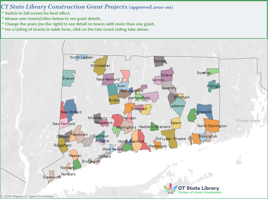 Map of Connecticut State Library Construction Grant Projects