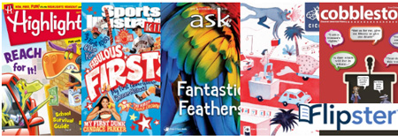 Flipster magazine covers: Highlights, Sports Illustrated Kids, Ask, Cricket, Cobblestone