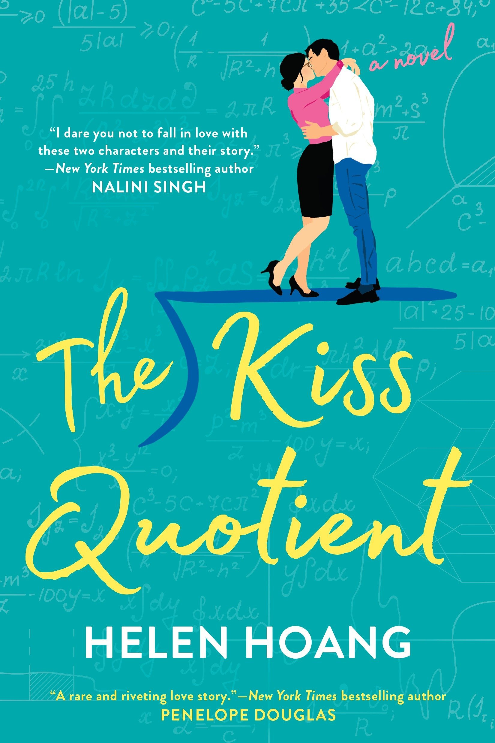 The cover of The Kiss Quotient. On the cover we see a couple kissing, standing atop the long division symbol.