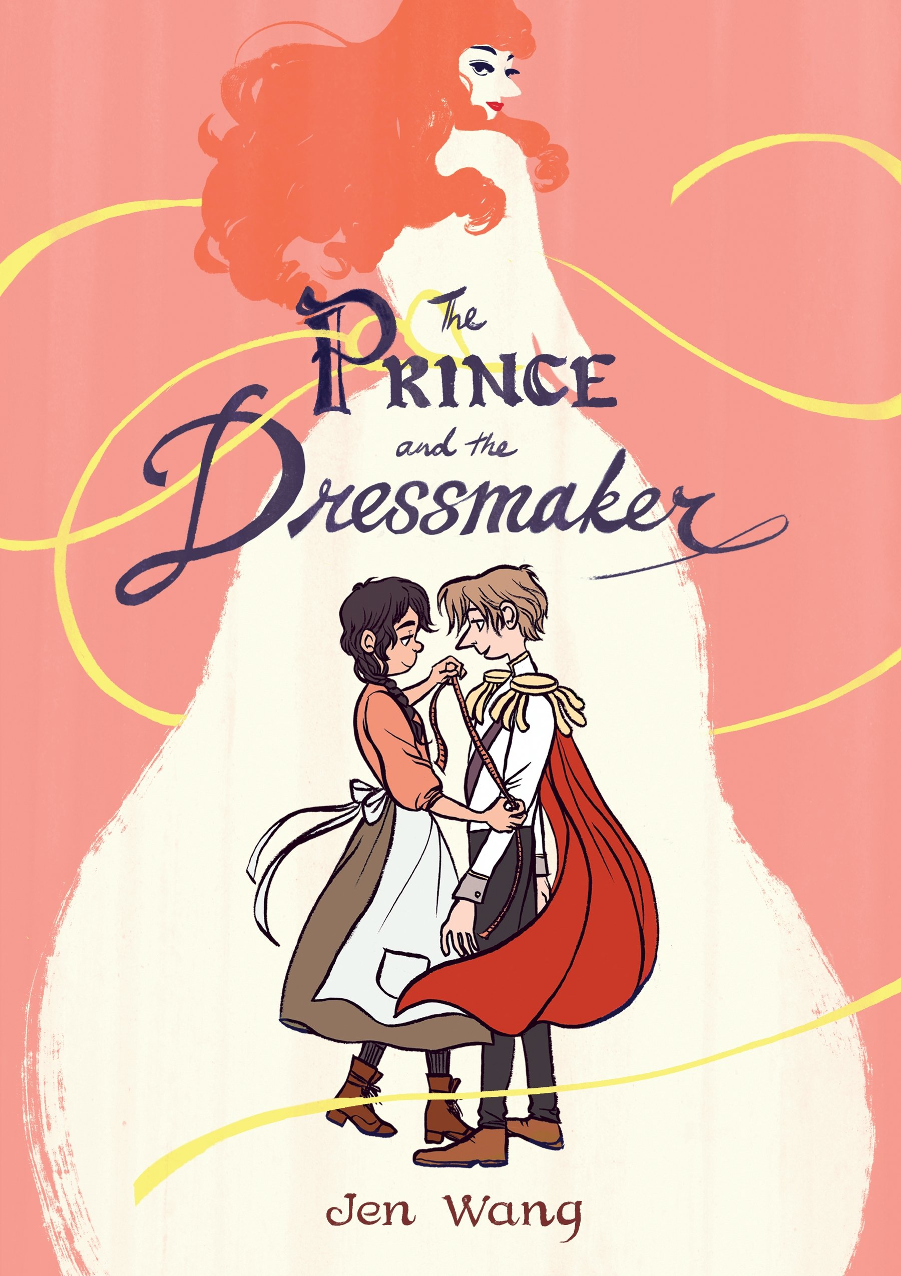 The cover of the Prince and the Dressmaker. It shows a girl with a measuring tape and a Prince in a white jacket with red cape. In the background we see a figure with bright pink hair.