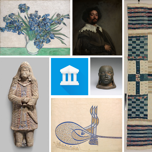 Various artworks surround the Google arts and culture logo