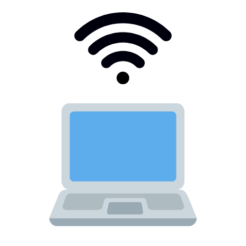A clipart image of a laptop with the wifi symbol above it