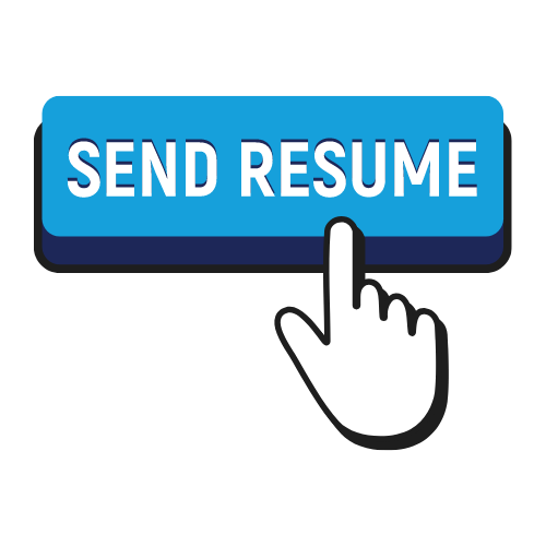 "Blue button that says ""send resume"" with a white mouse (shaped like a hand) ready to click it"