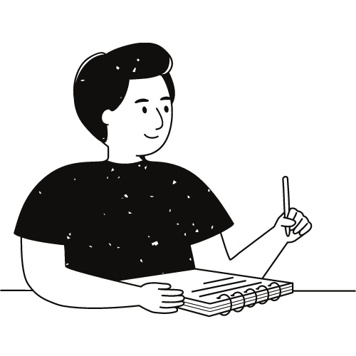 A cartoonish doodle of a person with a pen in hand, ready to write in the notebook before them.