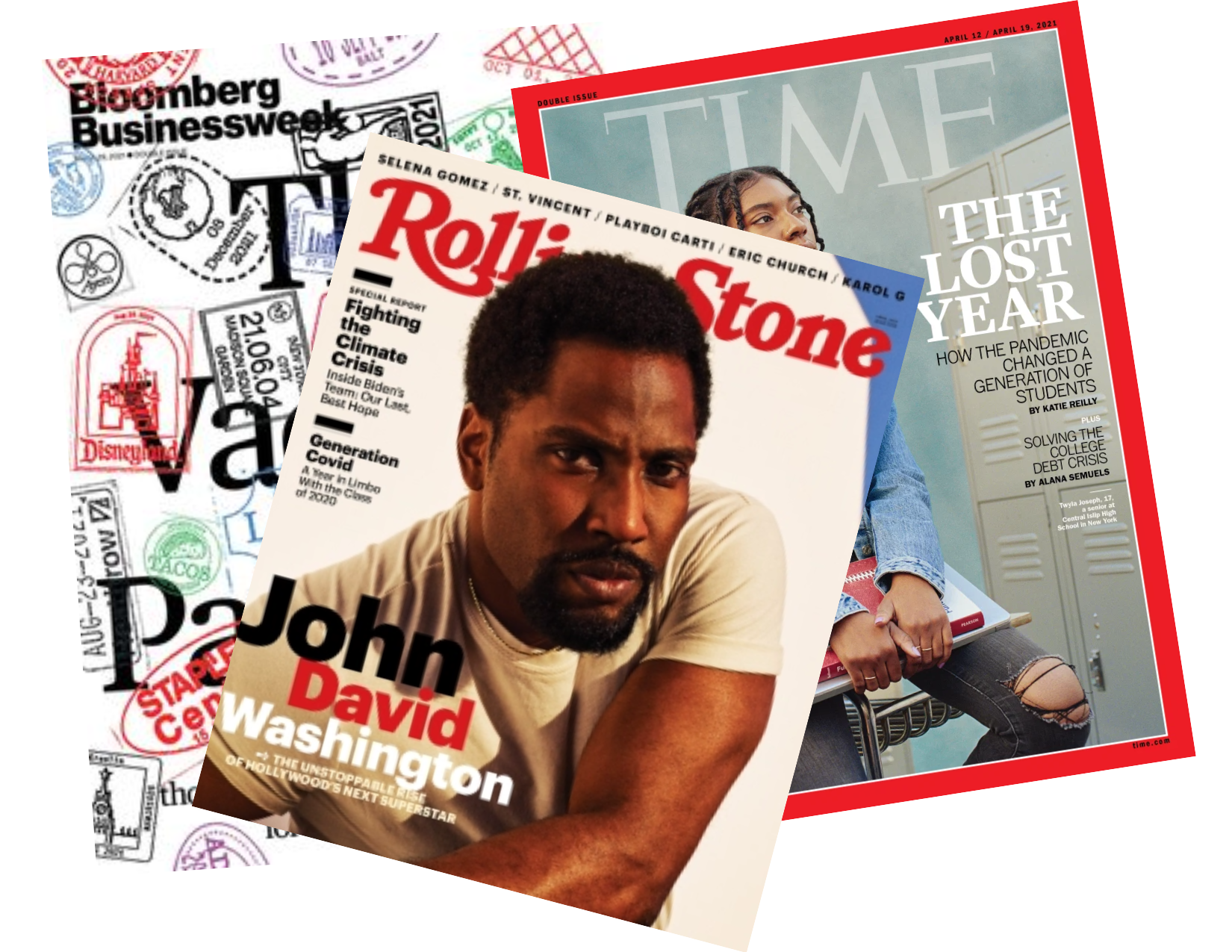 Popular Magazine covers: Bloomberg Businessweek, Rolling Stone, and TIME
