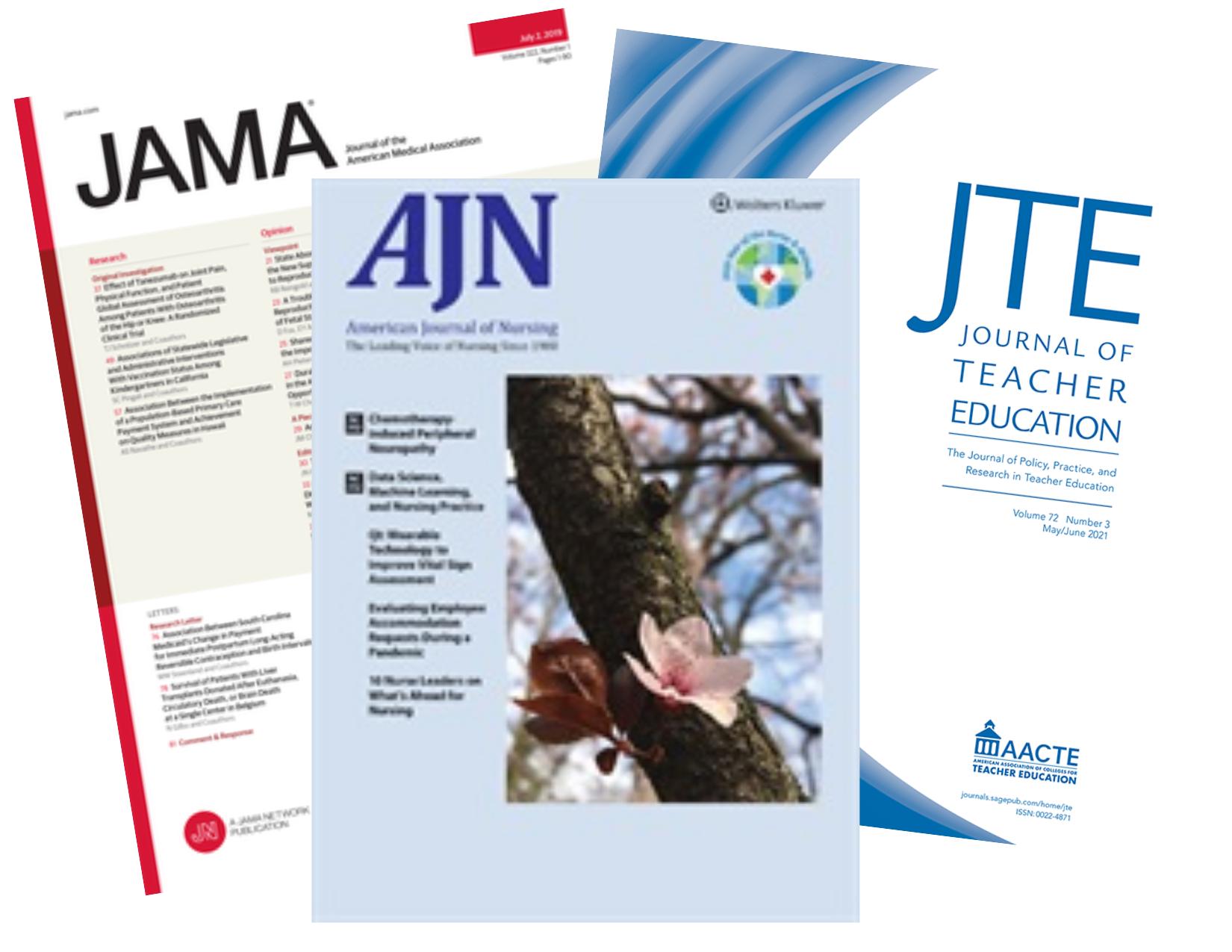 Journal Covers: JAMA, AJN, JTE