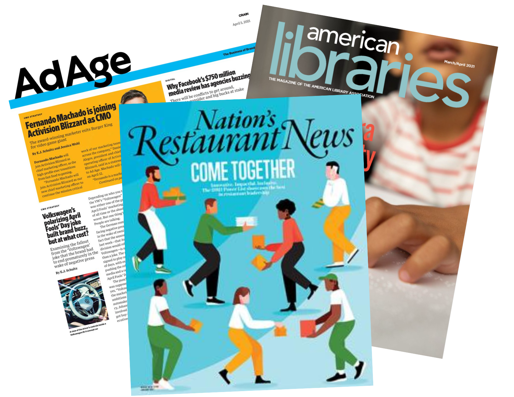 Trade Magazine Covers: Ad Age, American Libraries, Nation's Restaurant News
