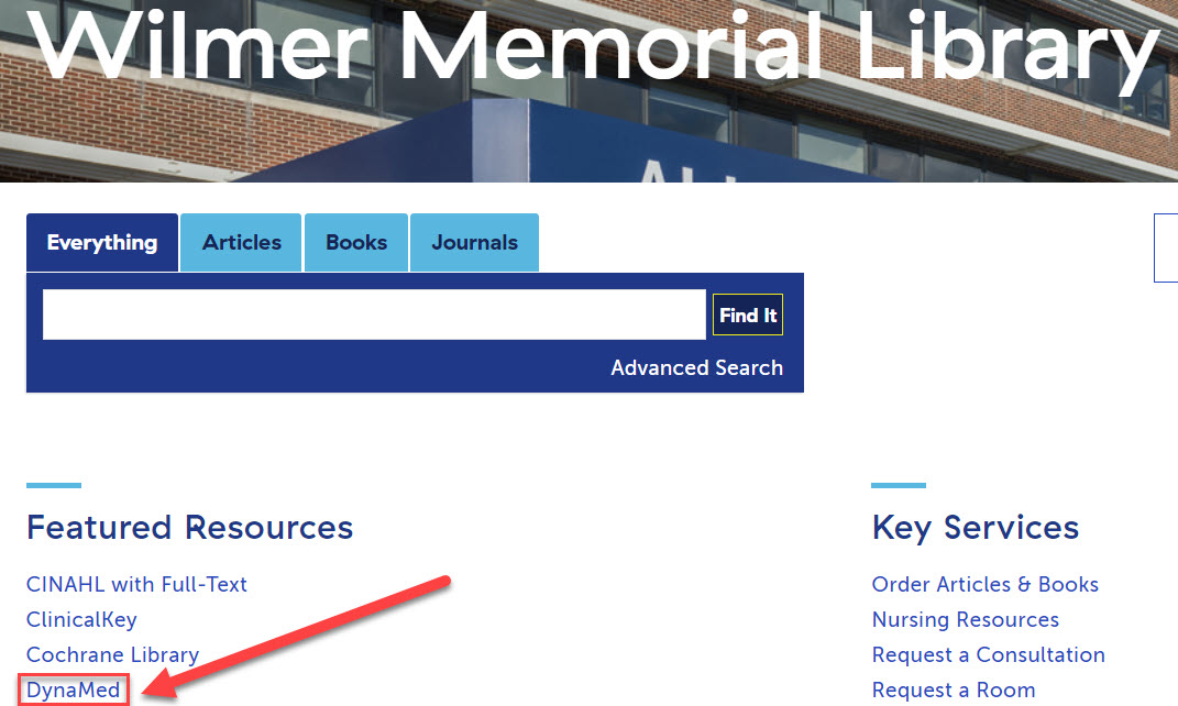 Wilmer Medical Library DynaMed Access screenshot
