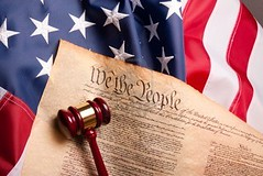 USA Flag Gavel and Constitution