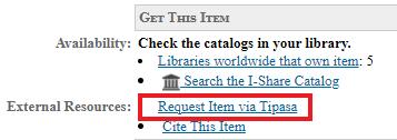 "Screenshot of the ""Request Item via Tipasa"" link."