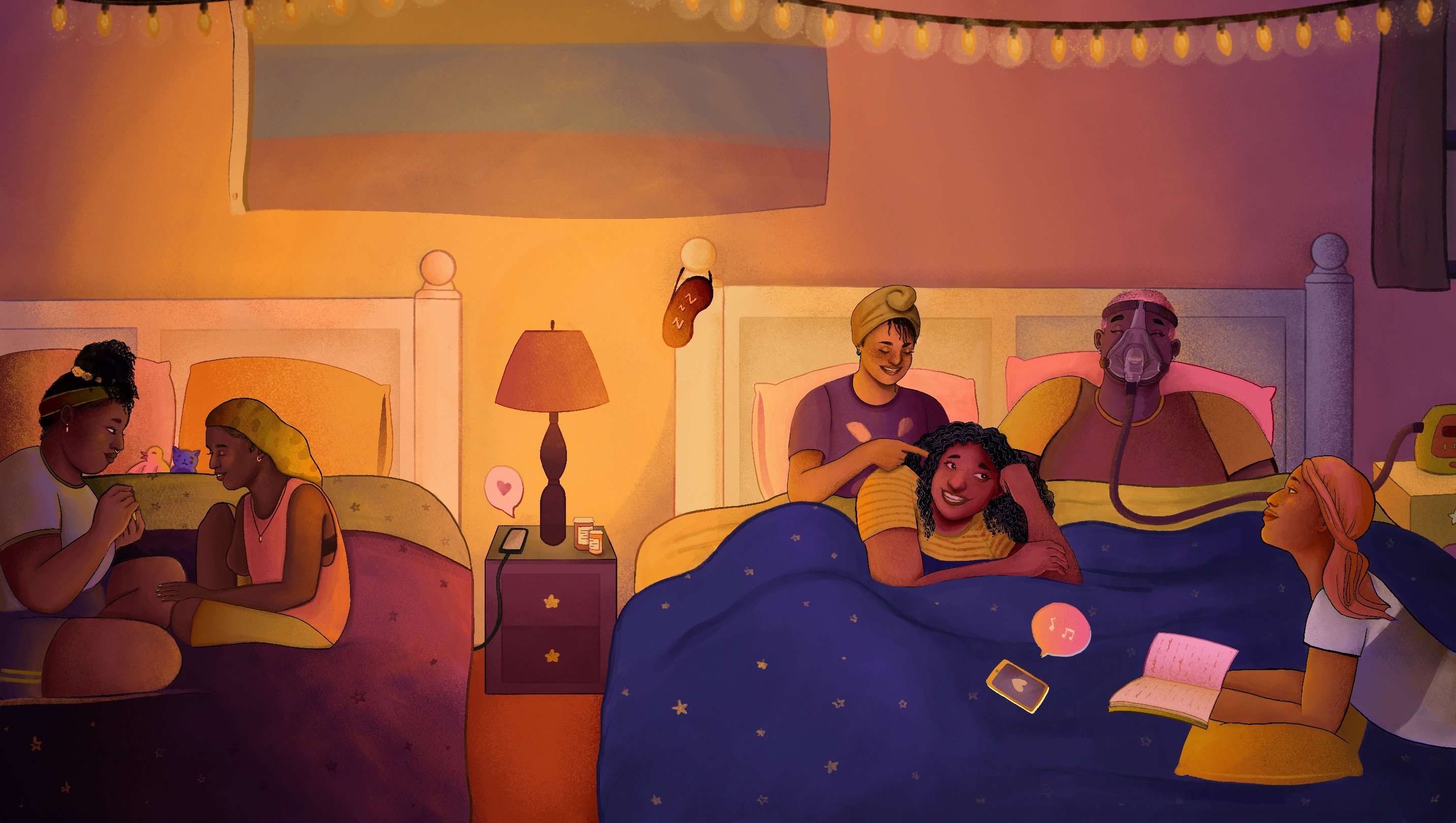 A group of disabled queer Black folks talk and laugh at a sleepover, relaxing across two large beds. Everyone is dressed in colorful t-shirts and wearing a variety of sleep scarves, bonnets, and durags. On the left, two friends sit on one bed and paint each other's nails. On the right, four people lounge on a bed: one person braids another's hair while the third friend wearing a C-PAP mask laughs, and the fourth person looks up from their book. In the center, a bedside lamp illuminates the room in warm light while pill bottles adorn an end table.