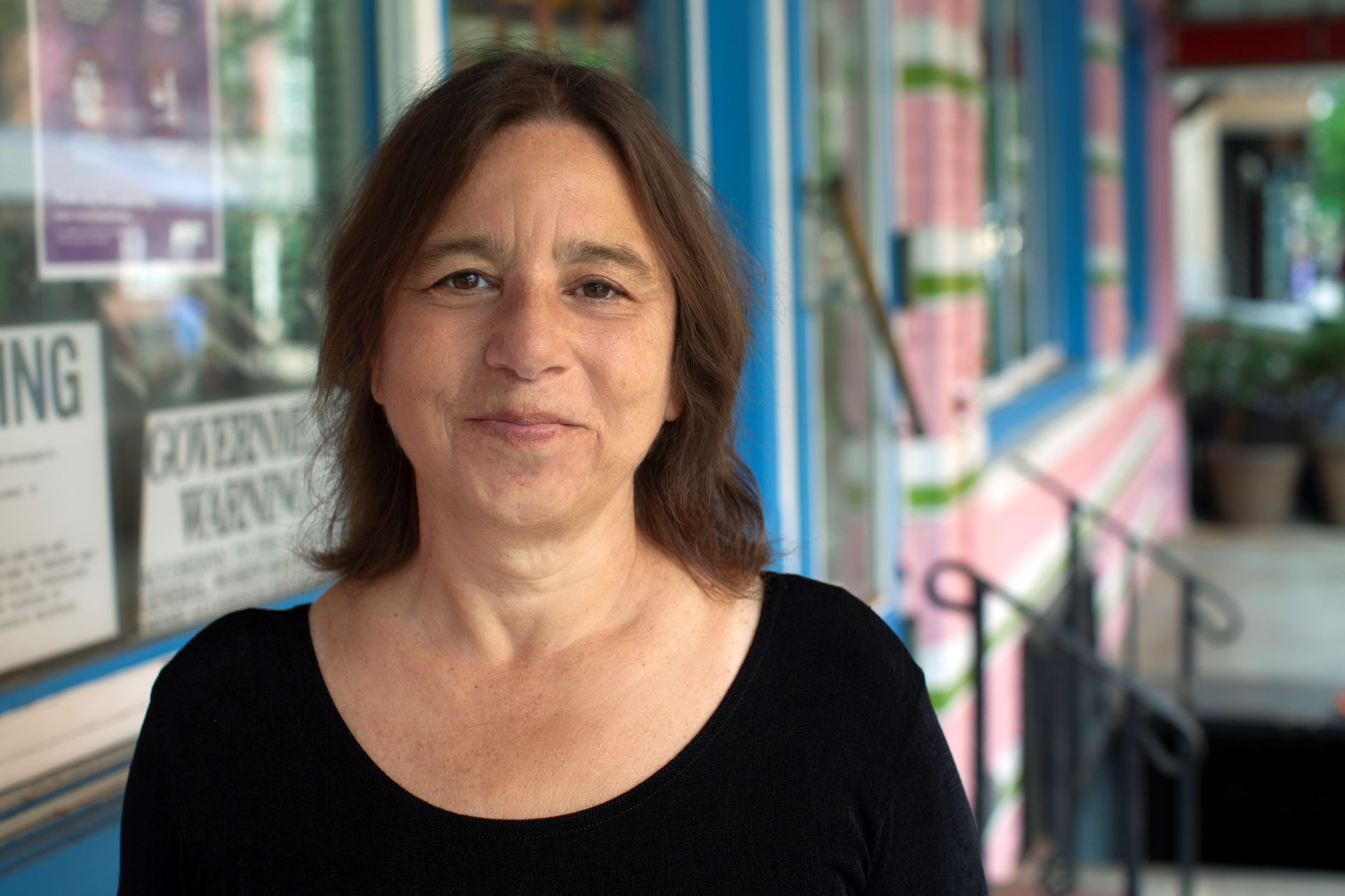 Photo of Sarah Schulman on the street