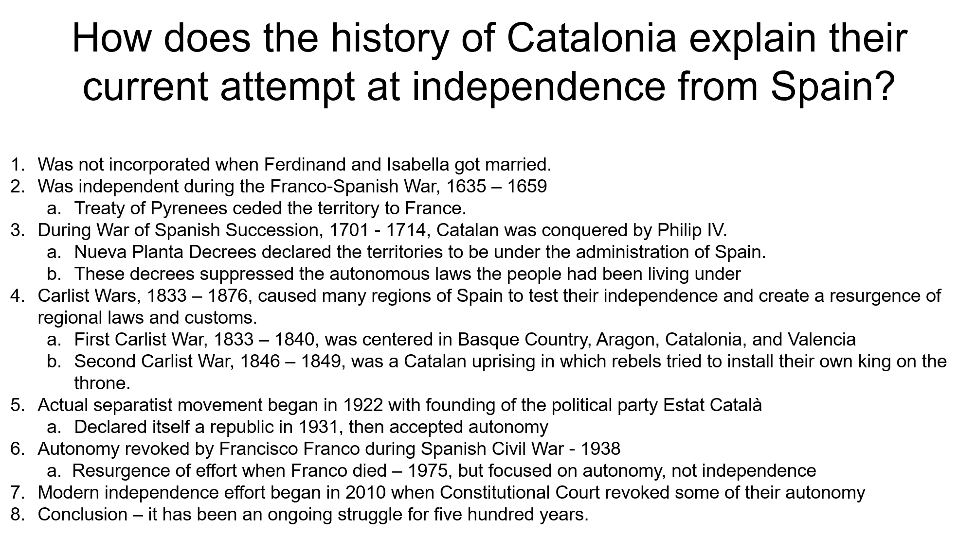 Catalan example outline