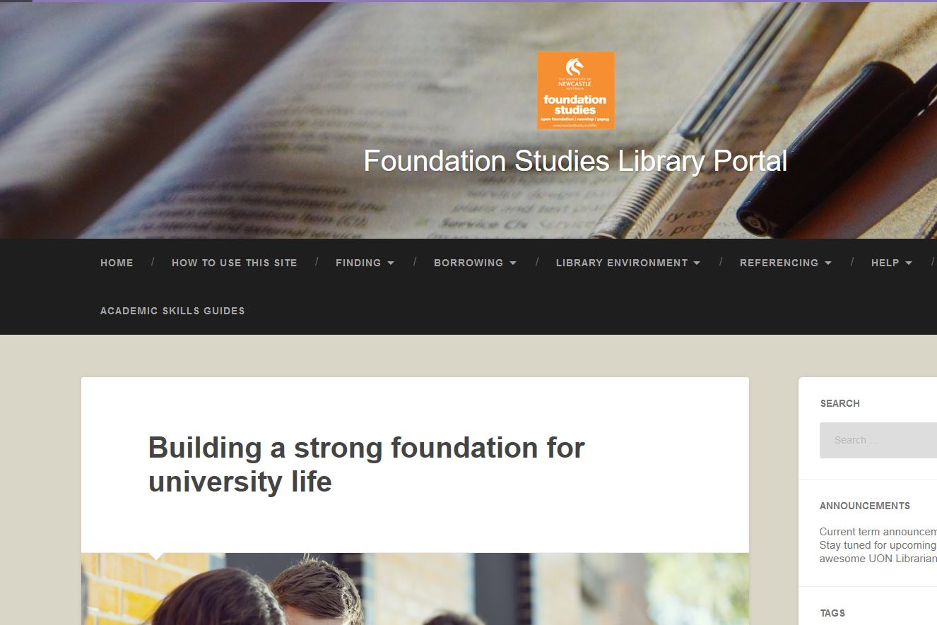 Foundation Studies Library Portal