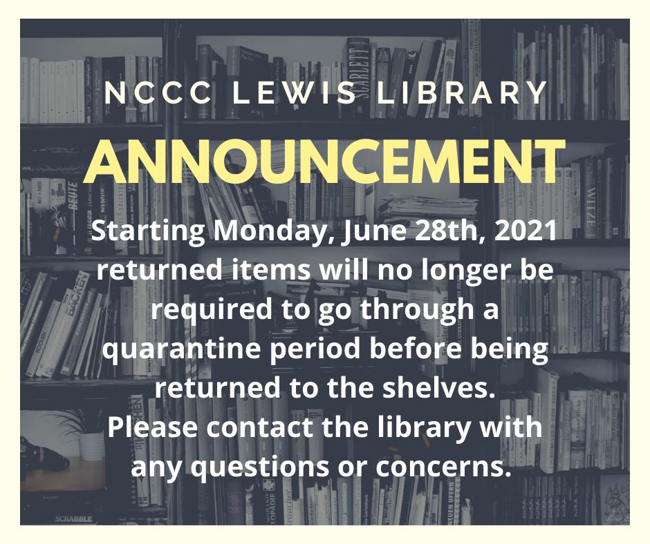 Book Quarantining ends June 28, 2021