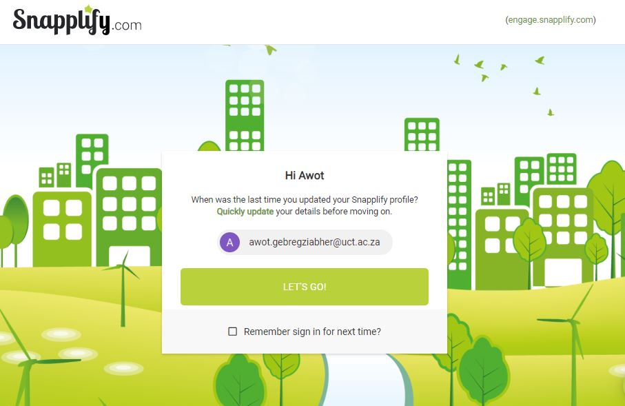 Screenshote of Snapplify page with welcoming pop-up box and 'Let's go' button to continue