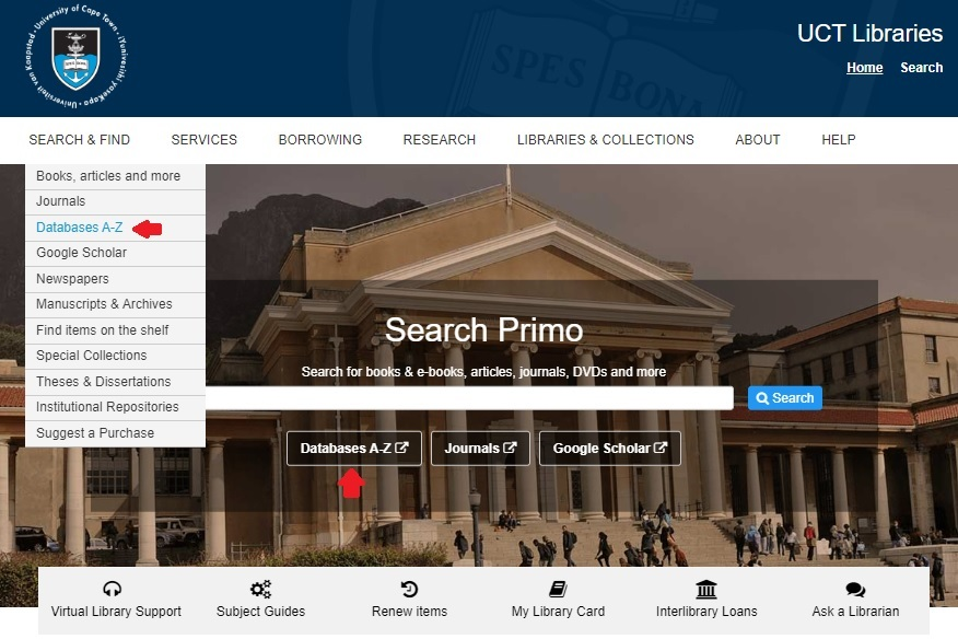 UCT Libraries homepage with expanded Search & Find menu and arrow indicating Databases A-Z