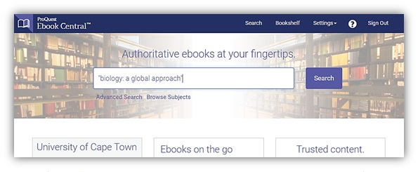 """EBook Central home page with search box ready to execute search of """"Biology: a global approch"""""""