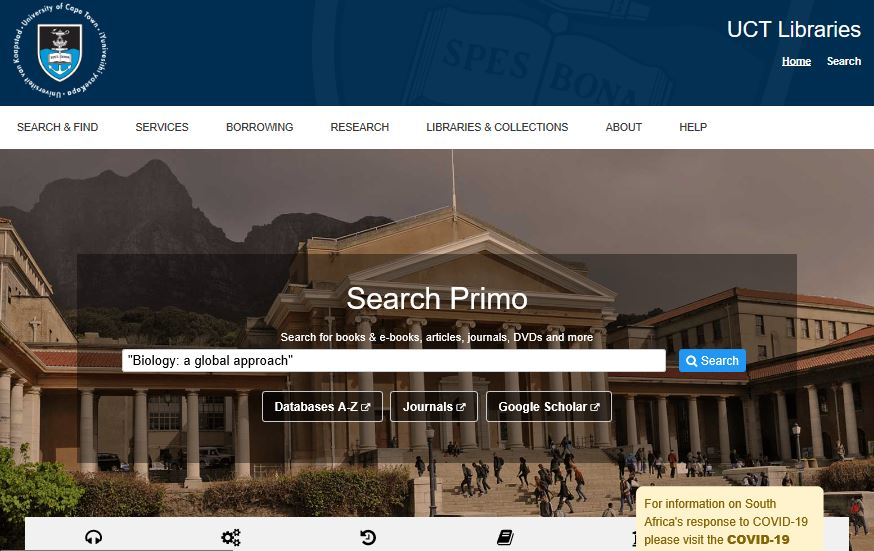 """UCT Libraries home page with the default search box populated with """"Biology: a global approach"""""""