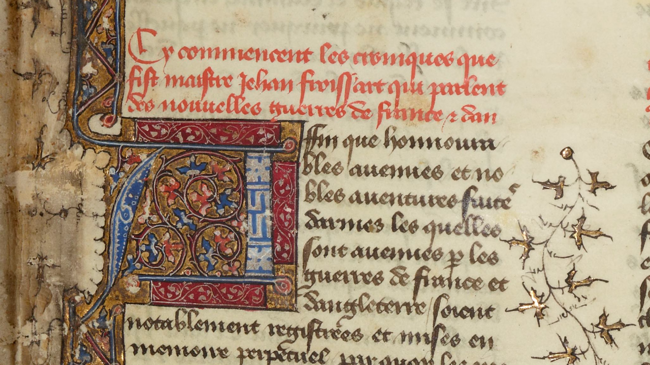 An image of a 14th century Froissart manuscript featuring a large beginning letter. The manuscript is decorated with text in red ink and decorative elements in gold and other paints.
