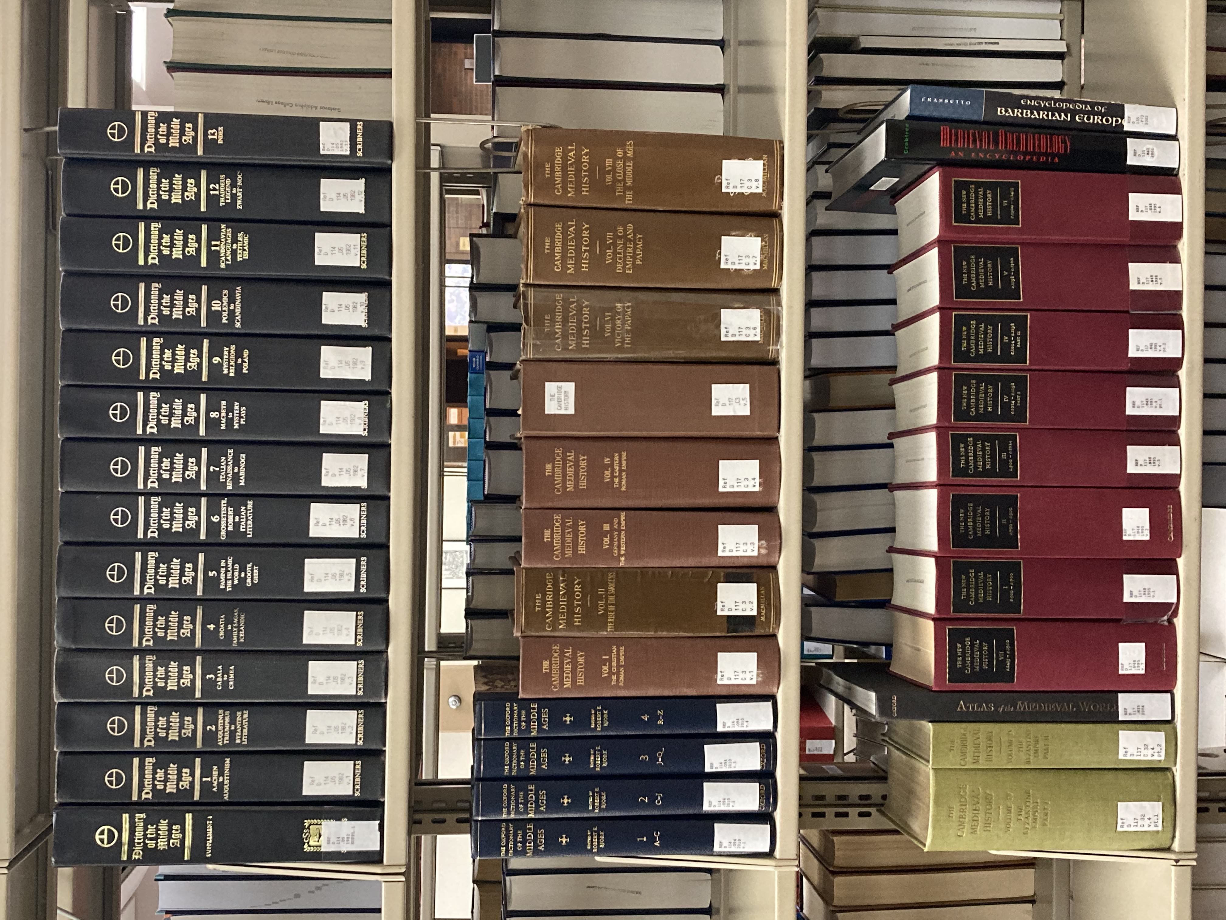 A picture of three shelves of reference books on medieval topics.