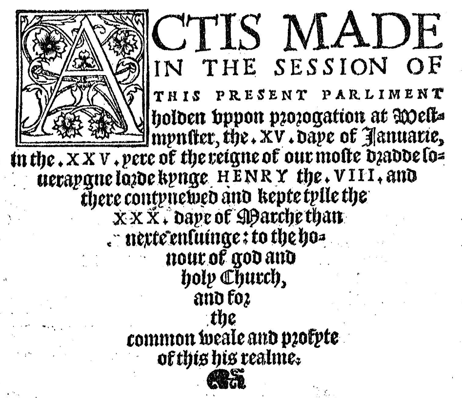 A screenshotted image of the title page of a parliamentary announcement of laws during the reign of Henry VIII. The page features both Roman and Gothic style text which tapers to a point as it nears the bottom of the page.