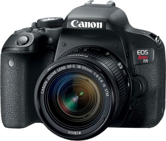 Photo of Canon Rebel T7i EOS 800D that is available for checkout. Information about equipment follows the image.