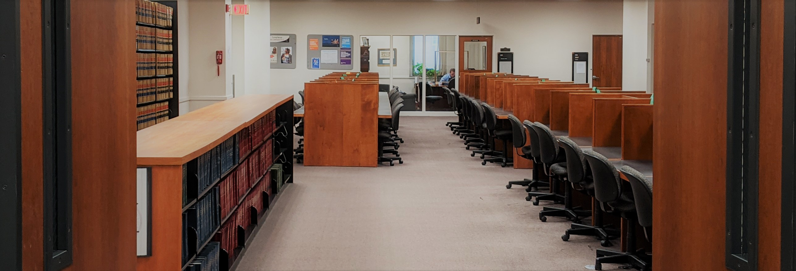 Image of the law library carrels and stacks