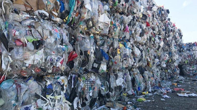 Stacks of bundled trash