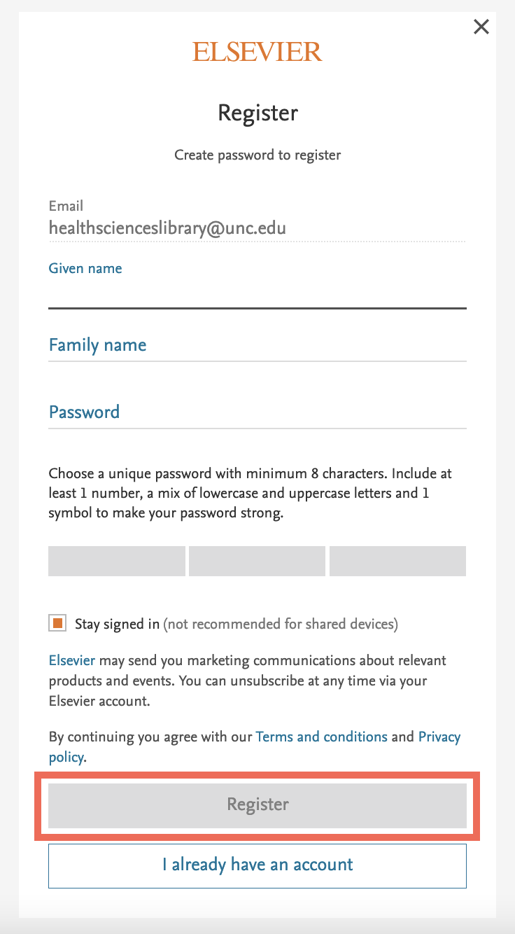 """Input the necessary information and click """"Register"""" at the bottom of the box"""