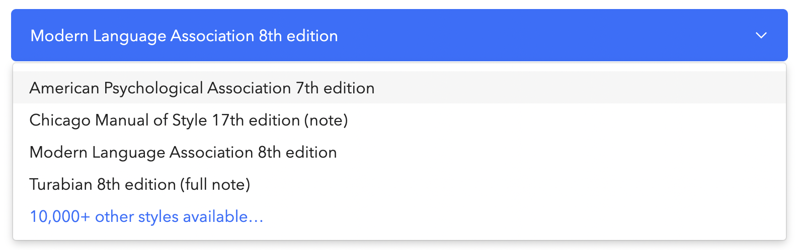 Citation style options