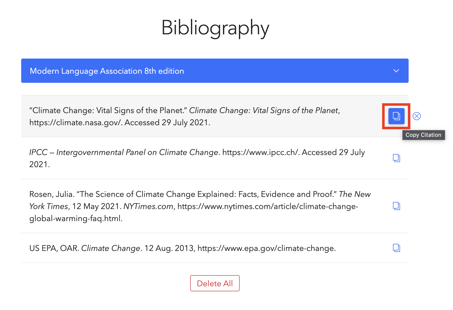 Copy button for in-text citation