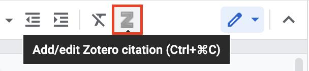 Add/edit Zotero citation toolbar icon in Google Docs