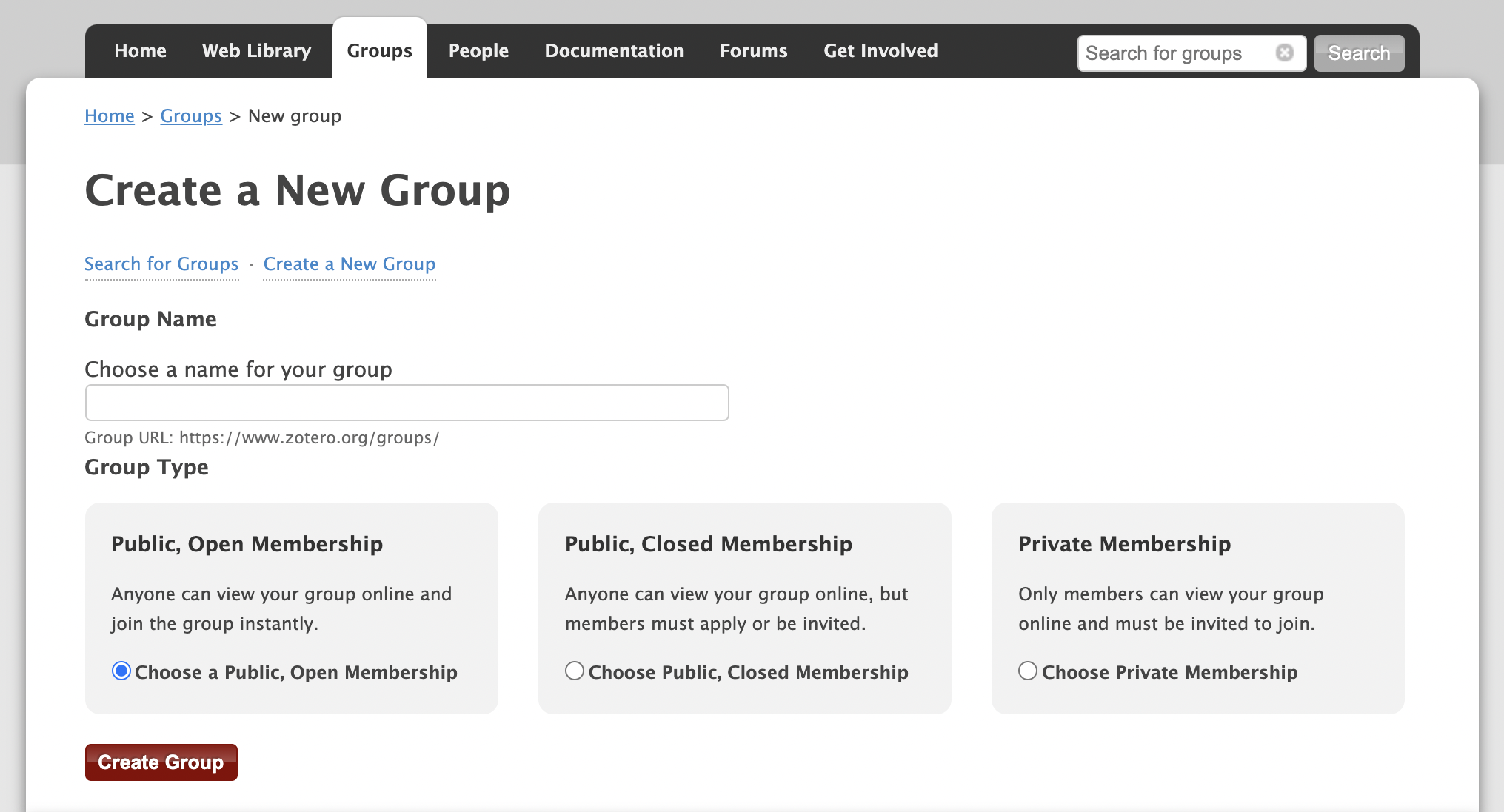 Create a New Group Webpage
