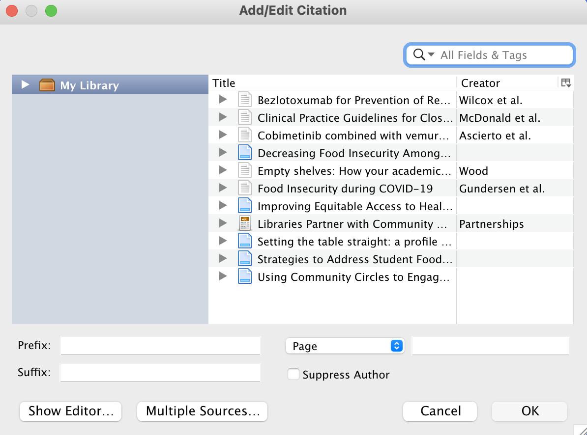 Add/Edit Citation Classic View pop-up