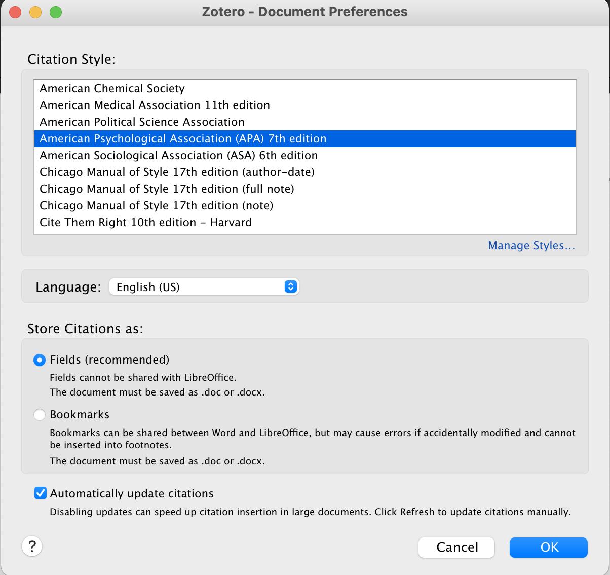 Choose a citation style Zotero pop-up