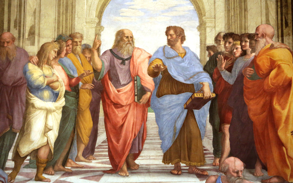 Aristotle and Plato in the School of Athens by Raphael