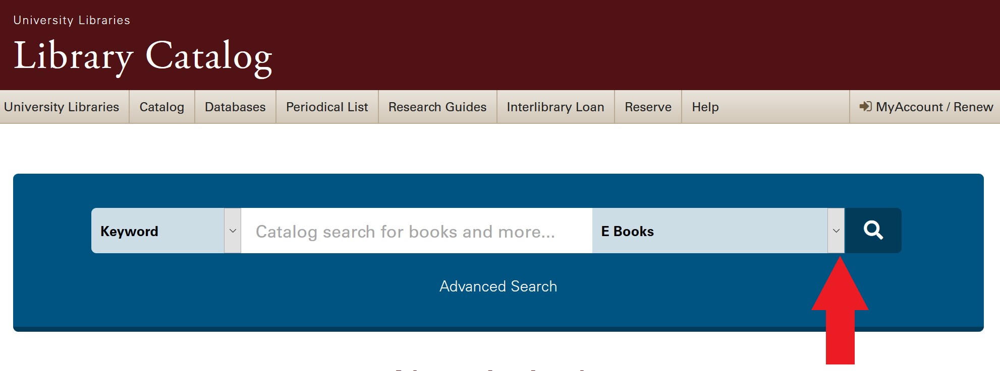 image of library catalog search