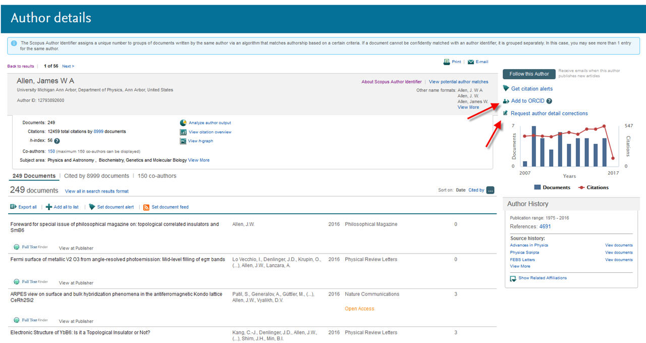Screenshot of the Scopus Author Details page