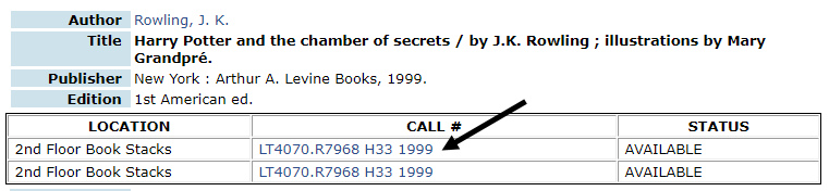 Call number in Skyline Example