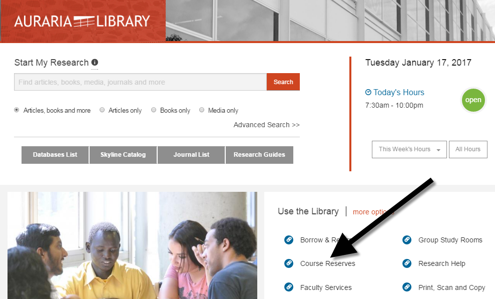 Course Reserves Link on Auraria Library's Website