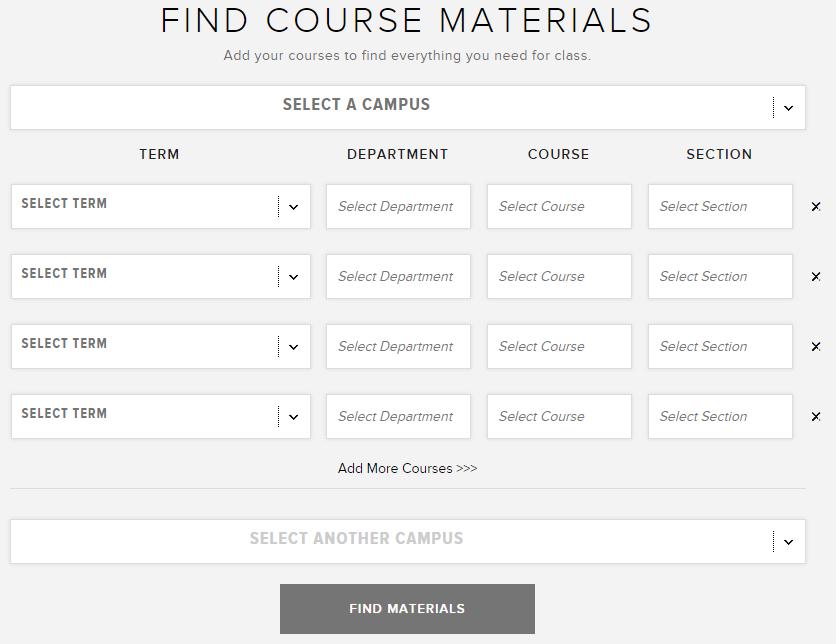 Find Course Materials Screenshot for Tivoli Bookstore