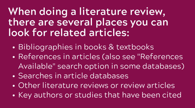 "Bibliographies in books & textbooks References in articles (also see ""References Available"" search option in some databases) Searches in article databases Other literature reviews or review articles Key authors or studies that have been cited"