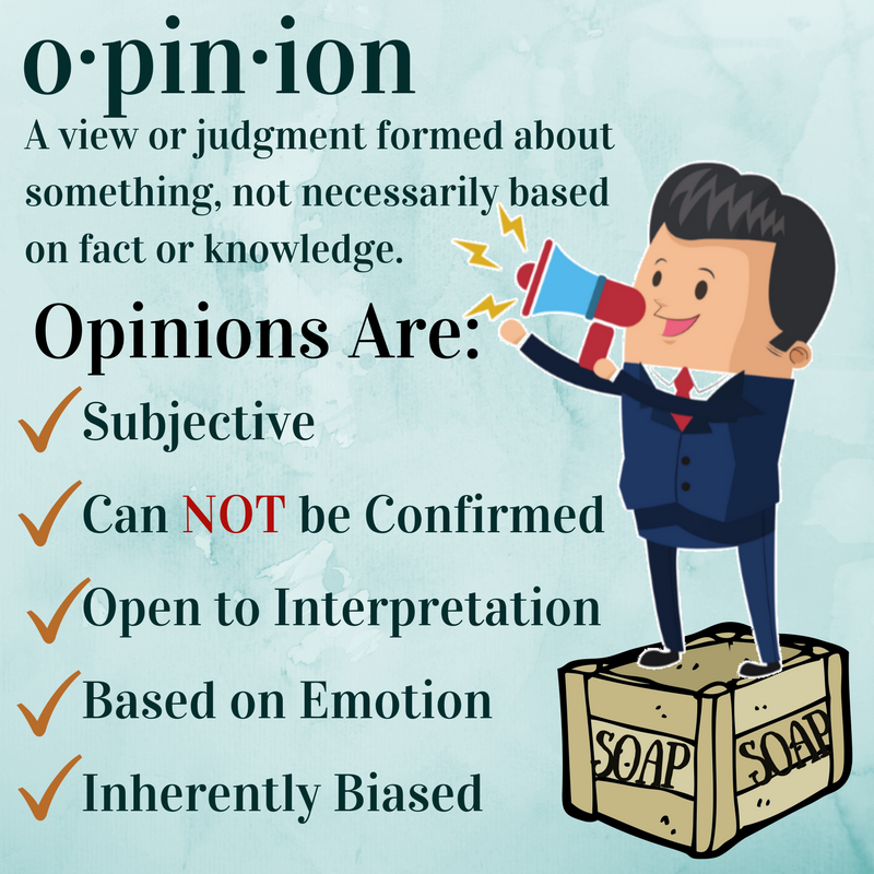 Opinion A view or judgment formed about something, not necessarily based on fact or knowledge.  Opinions are: Subjective Based on Emotion Open to Interpretation Can NOT be Confirmed Inherently Biased