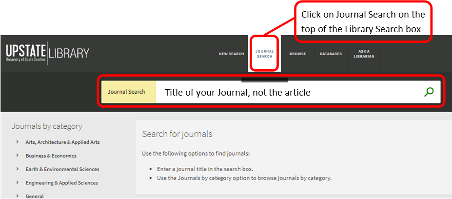 screen capture of using Journal Search