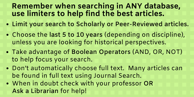Remember when searching in ANY database, use limiters to help find the best articles. Limit your search to Scholarly or Peer-Reviewed articles. Choose the last 5 to 10 years (depending on discipline), unless you are looking for historical perspectives. Take advantage of Boolean Operators (AND, OR, NOT) to help focus your search. Don't automatically choose full text. Many articles can be found in full text using Journal Search. When in doubt check with your professor OR Ask a Librarian for help!