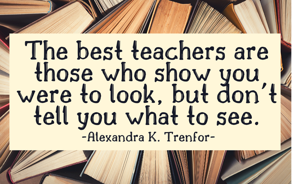 """The best teachers are those who show you where to look, but don't tell you what to see.""  -Alexandra K. Trenfor"