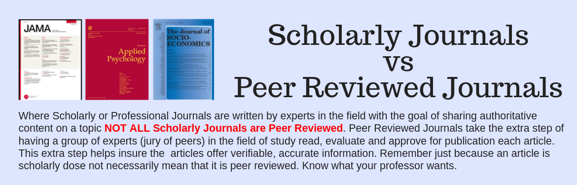 Where Scholarly or Professional Journals are written by experts in the field with the goal of sharing authoritative content on a topic NOT ALL Scholarly Journals are Peer Reviewed. Peer Reviewed Journals take the extra step of having a group of experts (jury of peers) in the field of study read, evaluate and approve for publication each article. This extra step helps insure the  articles offer verifiable, accurate information. Remember just because an article is scholarly dose not necessarily mean that it is peer reviewed. Know what your professor wants.