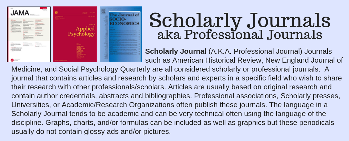 Scholarly Journal (A.K.A. Professional Journal) Journals                                                                        such as American Historical Review, New England Journal of Medicine, and Social Psychology Quarterly are all considered scholarly or professional journals.  A journal that contains articles and research by scholars and experts in a specific field who wish to share their research with other professionals/scholars. Articles are usually based on original research and contain author credentials, abstracts and bibliographies. Professional associations, Scholarly presses, Universities, or Academic/Research Organizations often publish these journals. The language in a Scholarly Journal tends to be academic and can be very technical often using the language of the discipline. Graphs, charts, and/or formulas can be included as well as graphics but these periodicals usually do not contain glossy ads and/or pictures.