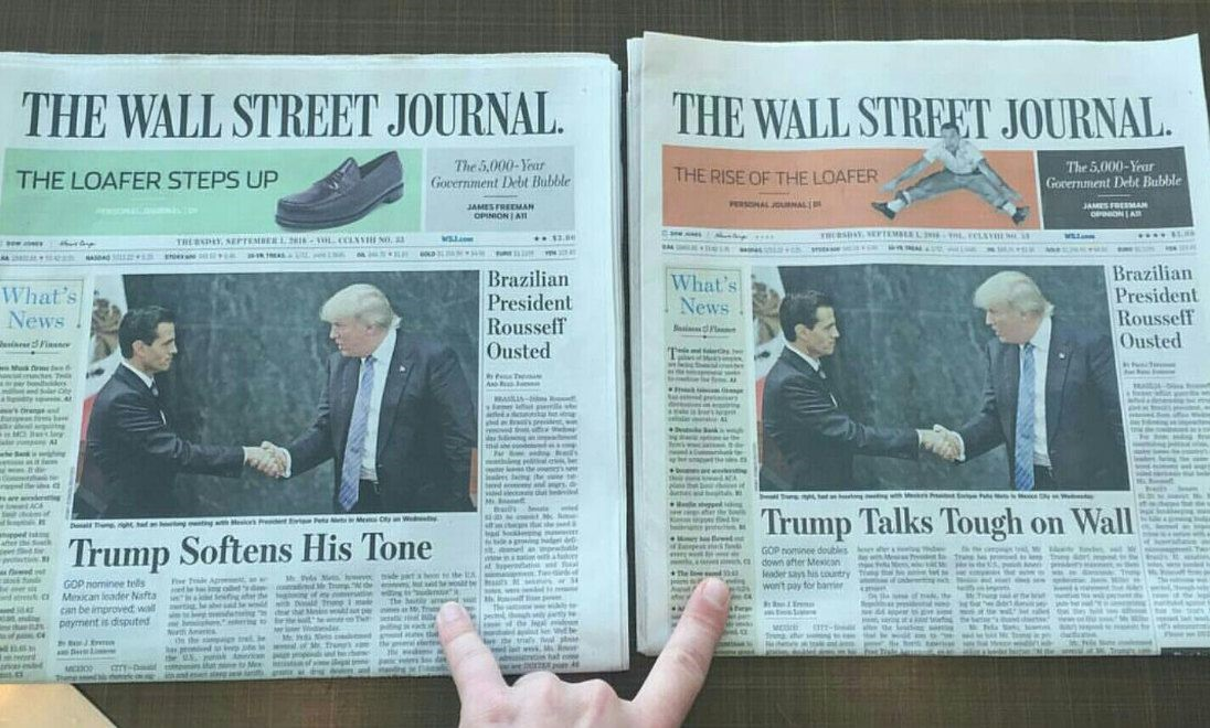 Wall Street Journal same day two headlines image